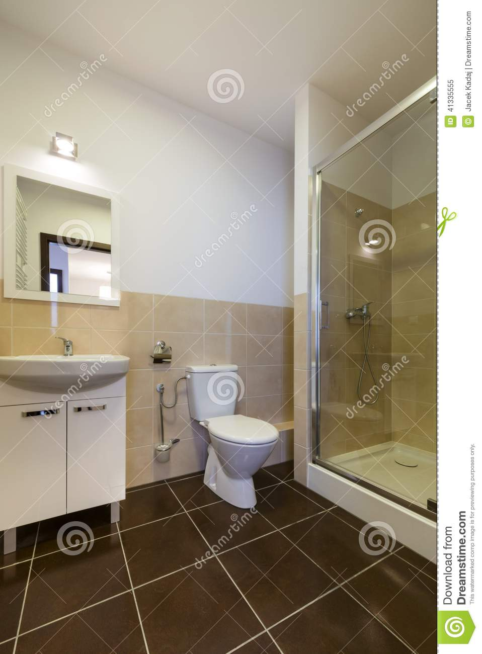 Modern bathroom with sinks toilet and shower stock image for Salle de bain avec jacuzzi et douche