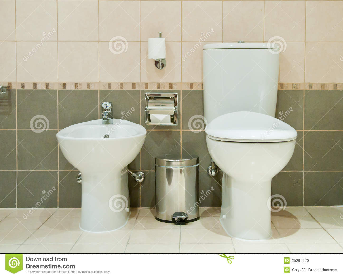 Modern bathroom with toilet and bidet stock photo image for Salle de bain toilette 6m2