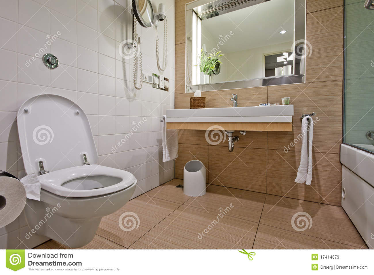 Modern bathroom with toilet sink stock image image of for Commode salle de bain