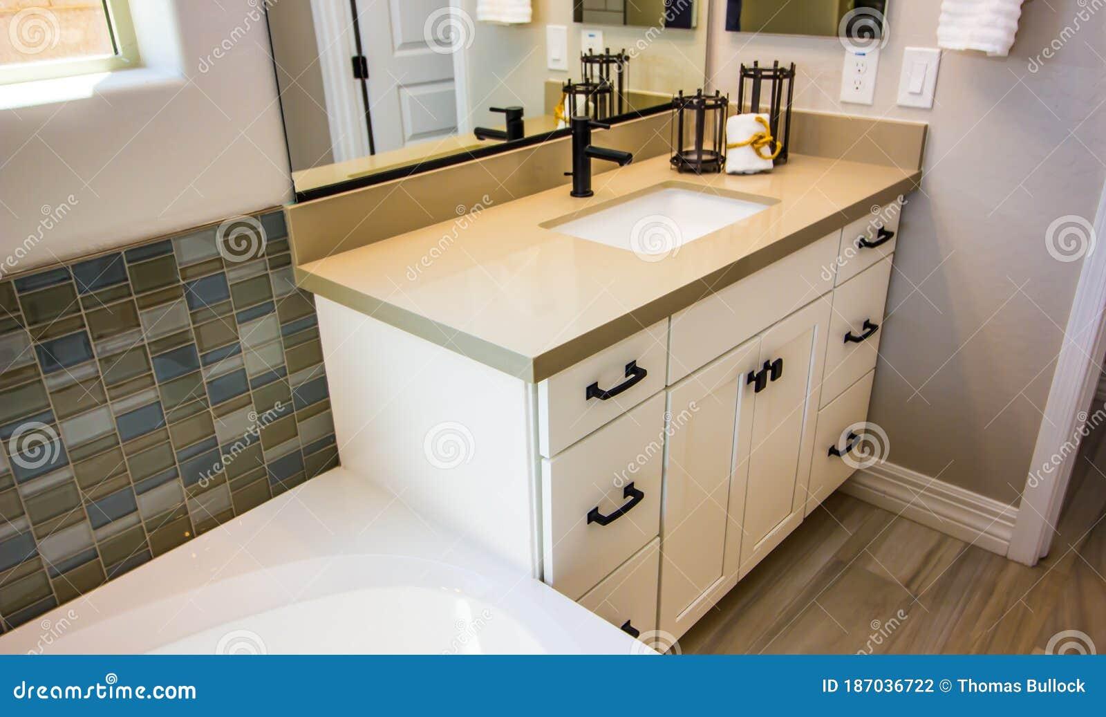 Modern Bathroom Vanity With Mirror Stock Photo Image Of Indoors Handles 187036722