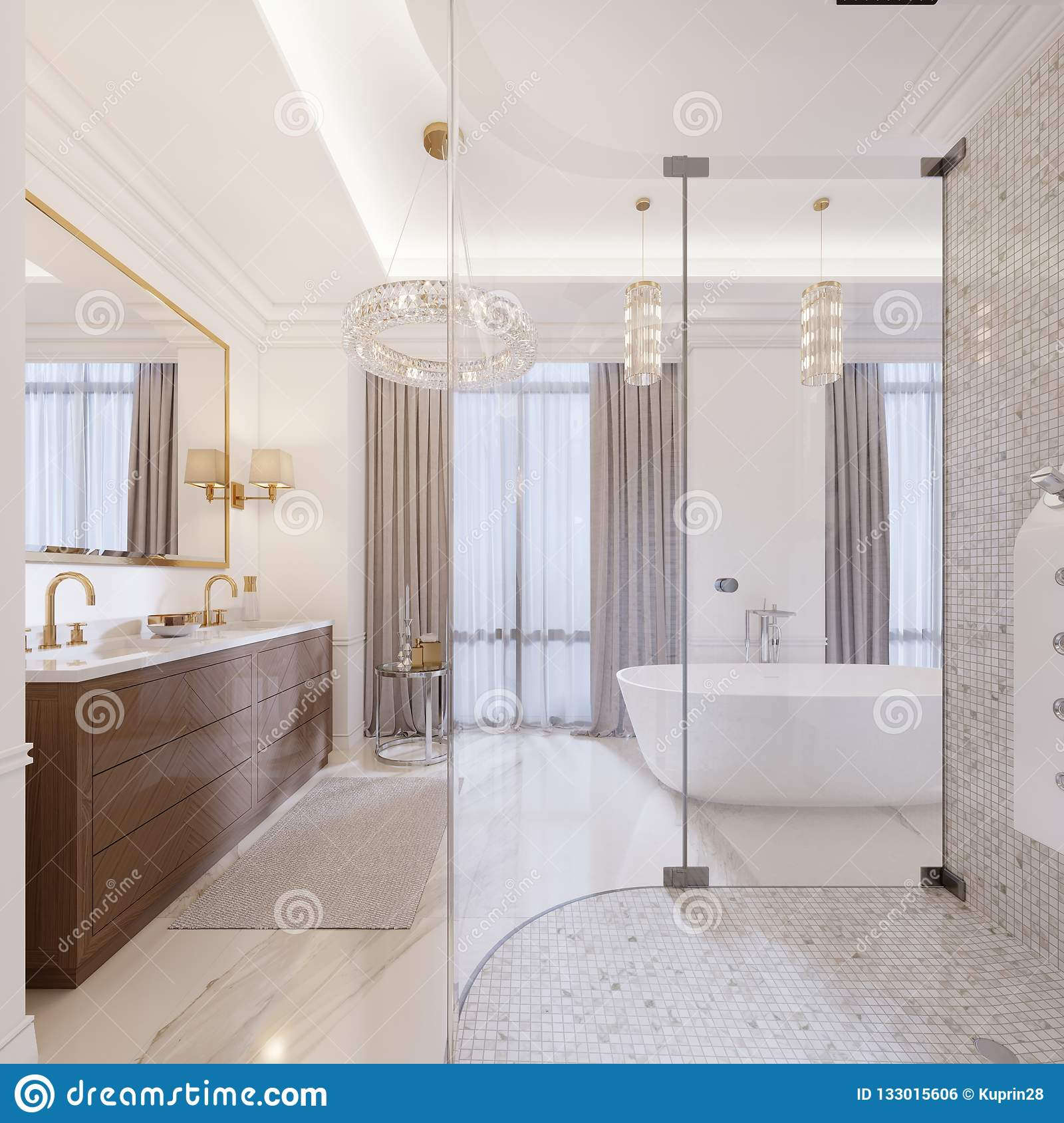 Modern Bathroom With Vanity And A Mirror In Gold Frame Sconces On The Wall Low Table Decor Shower Fashionable Bath 3d Rendering