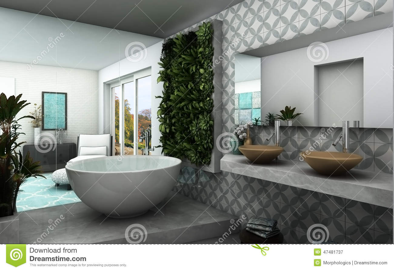 Modern bathroom with vertical garden and oriental vibe for Salle de bain de luxe moderne