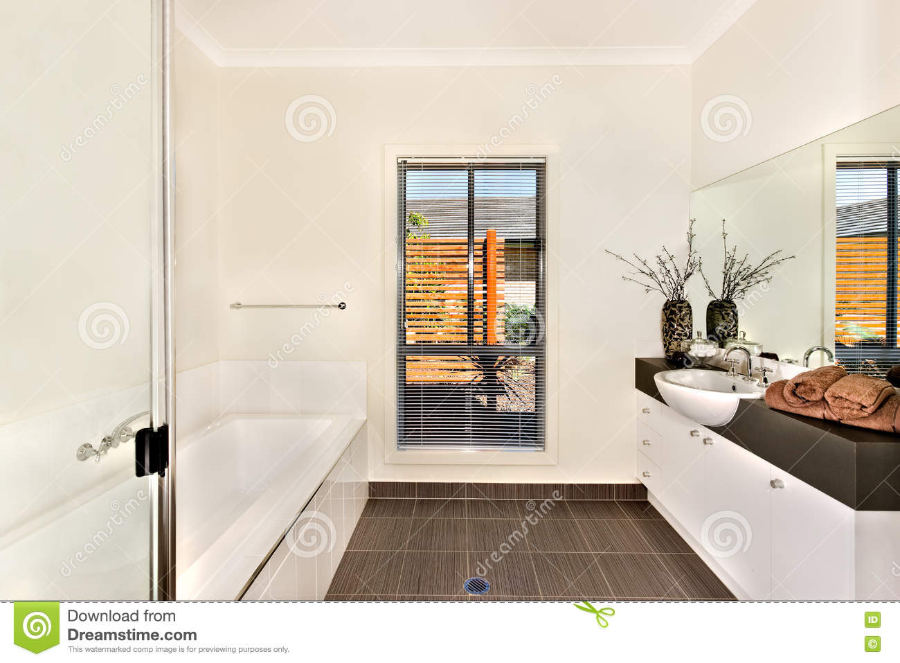 Modern Bathroom With A Water Tub And Bathing Area Opposite To Th ...