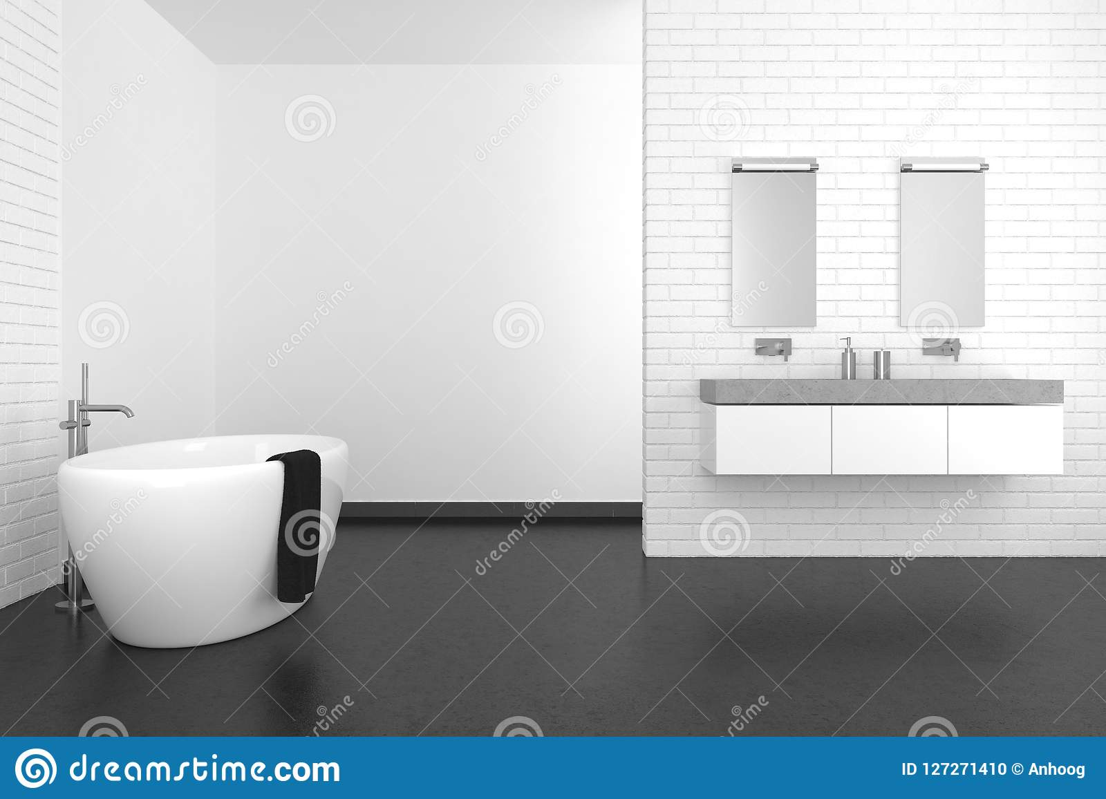 Modern Bathroom With White Brick Wall And Dark Floor Stock ...