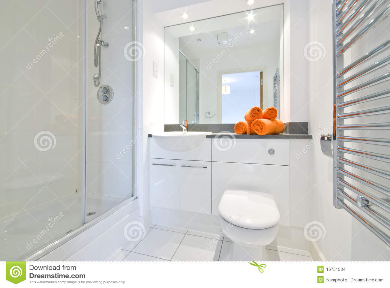 Modern bathroom in white large shower room stock images for Salle de bain blanche moderne