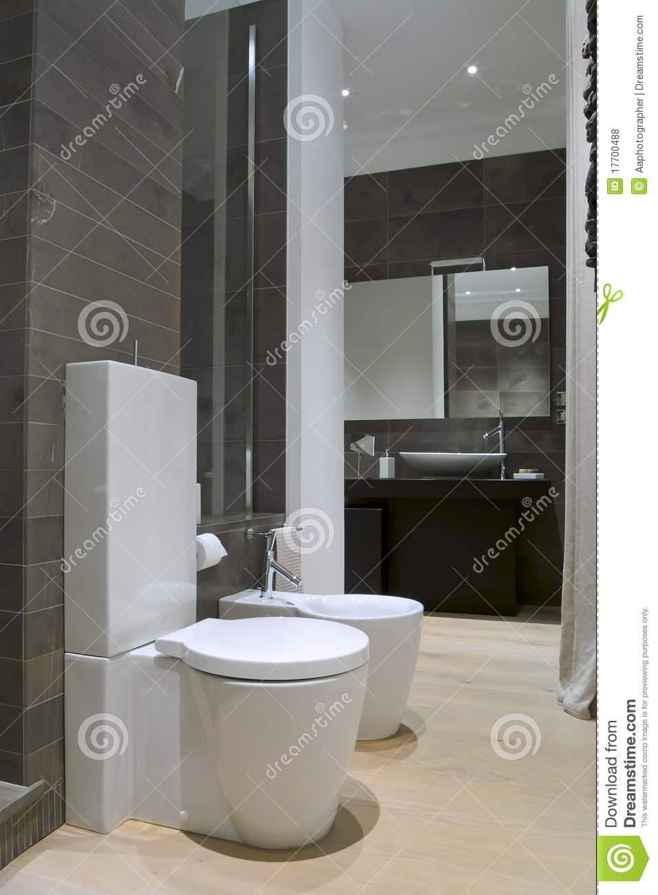 Modern bathroom with white sanitary ware stock photo for Bathroom ware