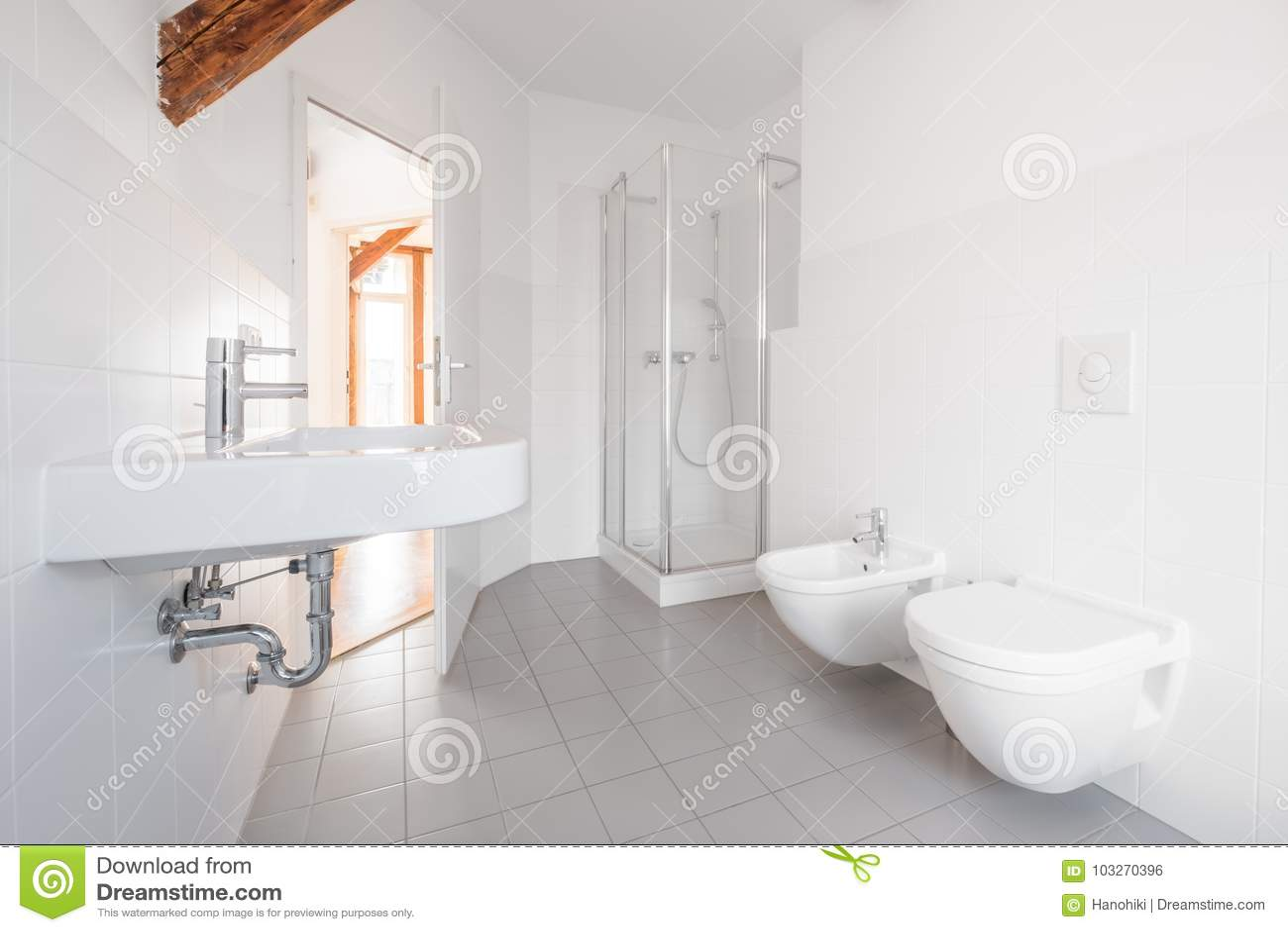 Modern Bathroom - White Tiled Bath With Shower Stock Photo - Image ...