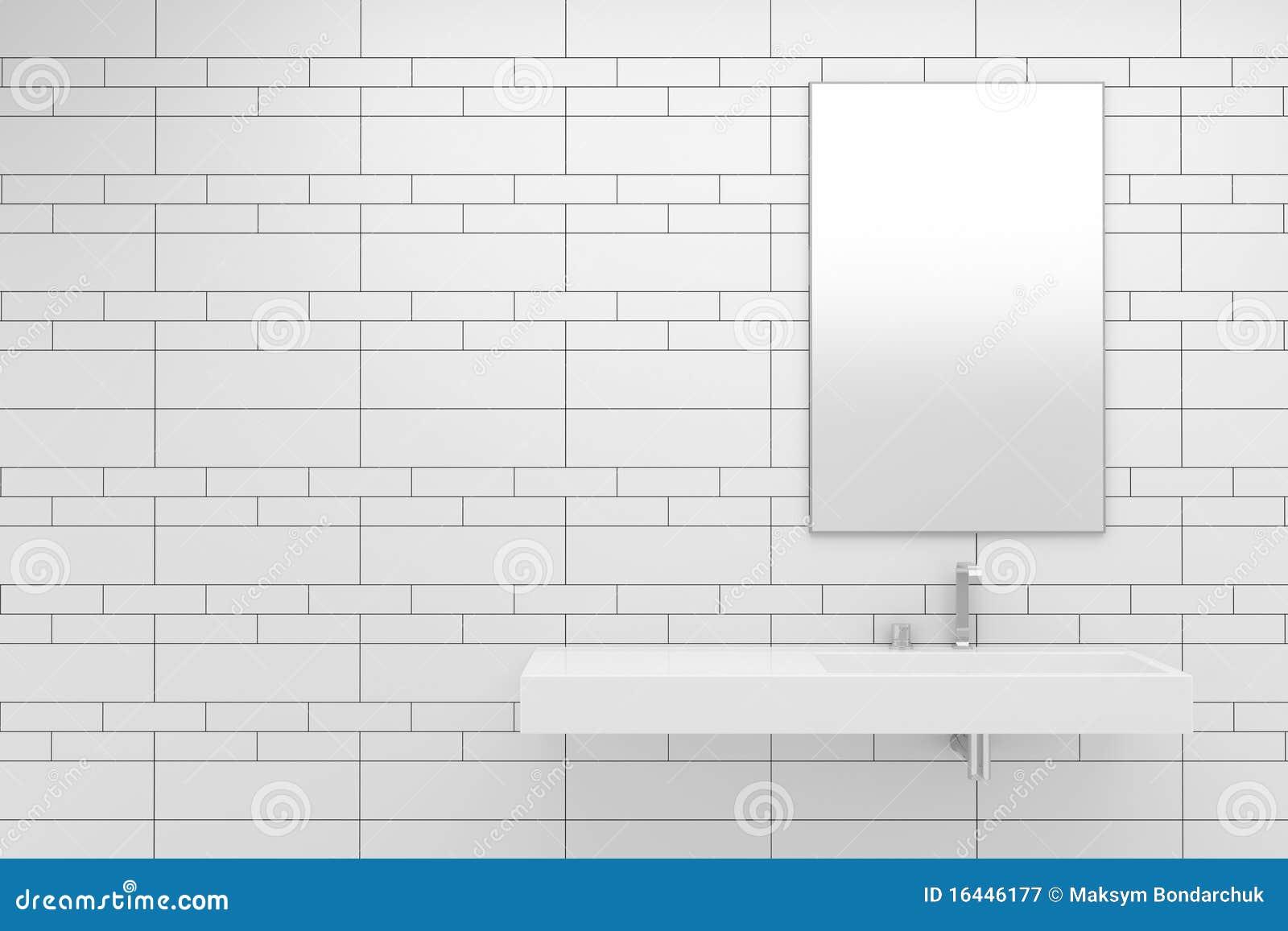Modern Bathroom With White Tiles Stock Illustration - Illustration ...