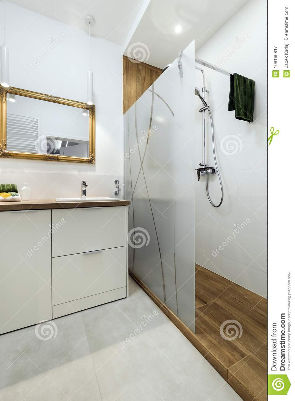 Modern Bathroom With Wooden Floor Stock Image - Image of glass ...