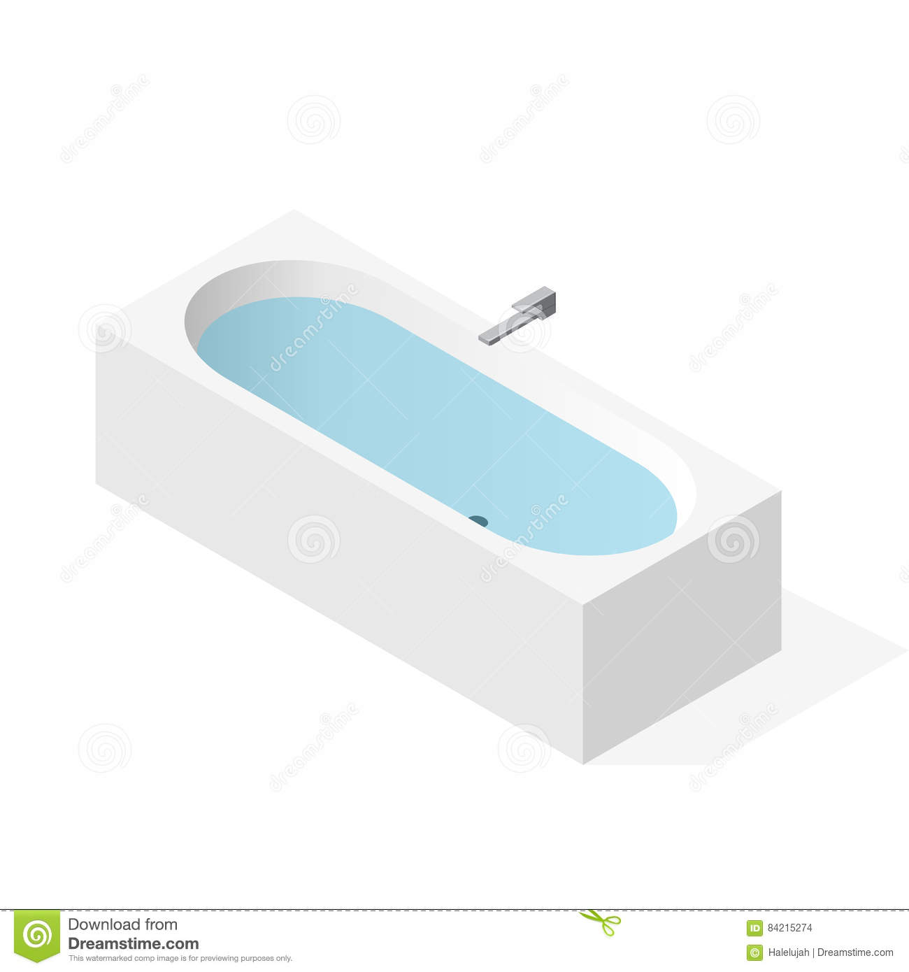Modern Bathtub Filled With Water. Vector Bath Tub
