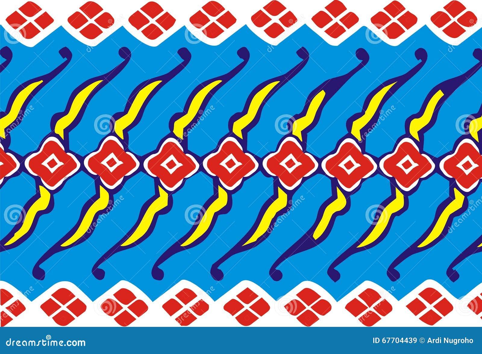 Modern Batik Pattern Motif On Blue Red Yellow Stock Illustration