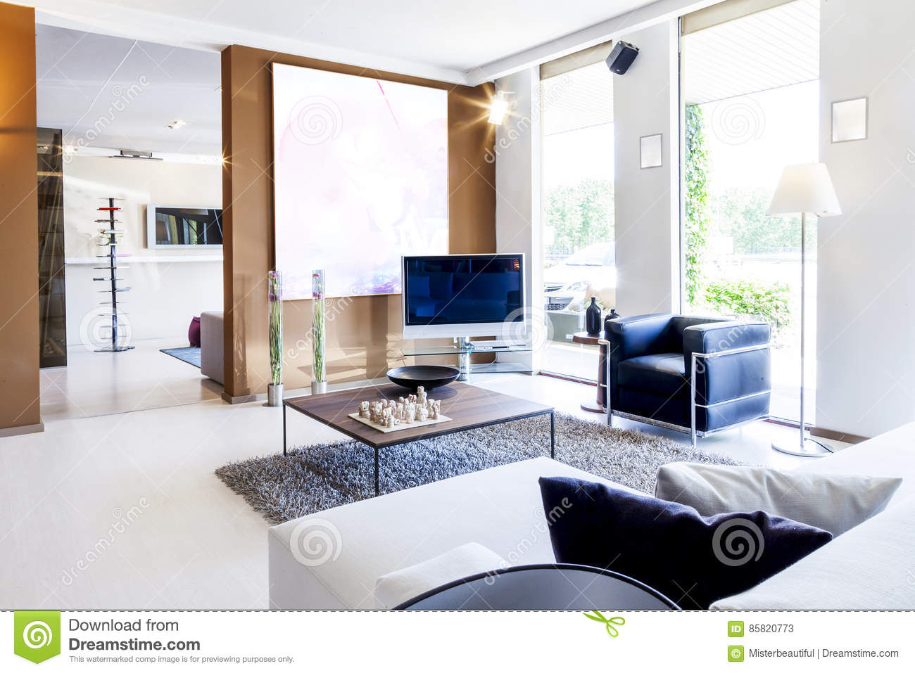 Modern beautiful apartment in new home interior stock for Beautiful flats interior