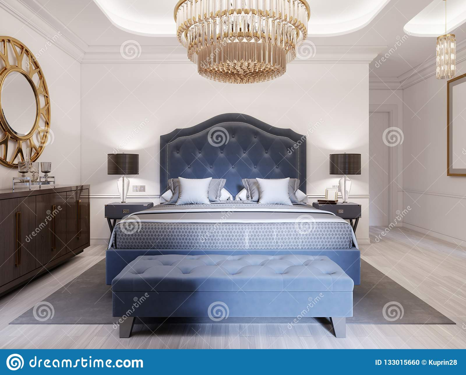 Picture of: Modern Bed In Classic Blue Style With Bedside Table And Lamp Large Glass Chandelier Over A Dresser With A Decor And A Golden Stock Illustration Illustration Of Contemporary Decoration 133015660