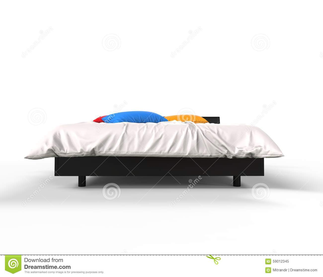 Modern Bed With Colorful Pillows Front View Stock Photo
