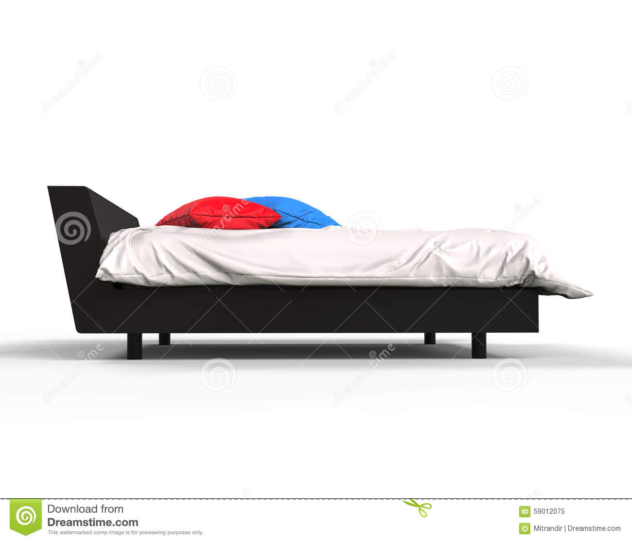 Modern bed side view - Modern Bed With Colorful Pillows Side View