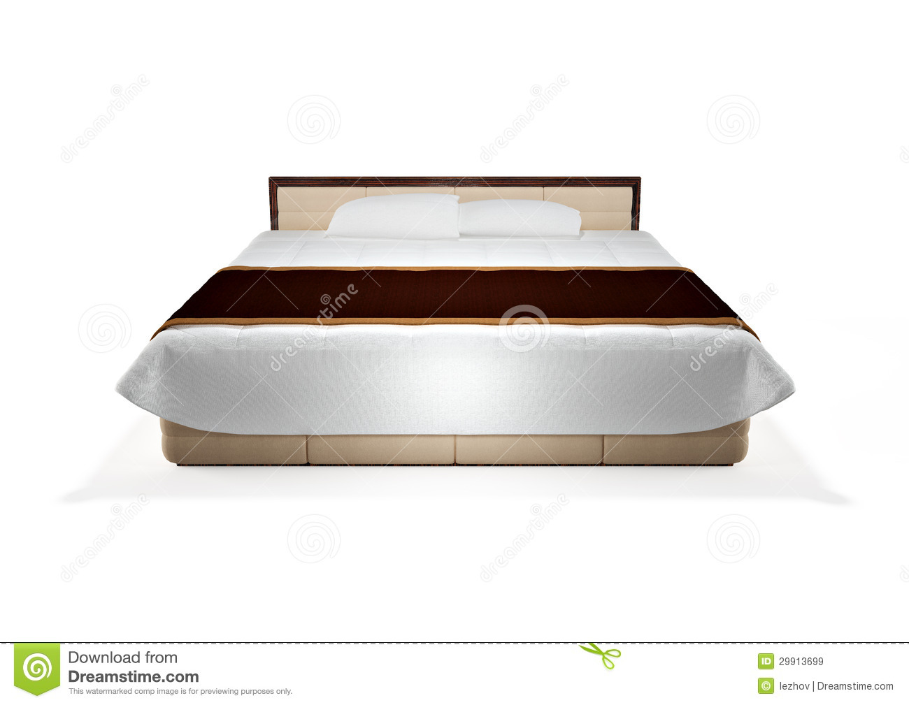Modern Bed Isolated On White, Front View Royalty Free ...