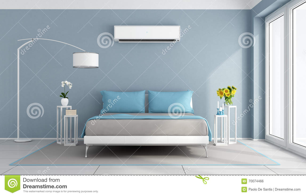 Modern bedroom with air conditioner stock illustration image 70074466 - Bedroom air conditioner ...