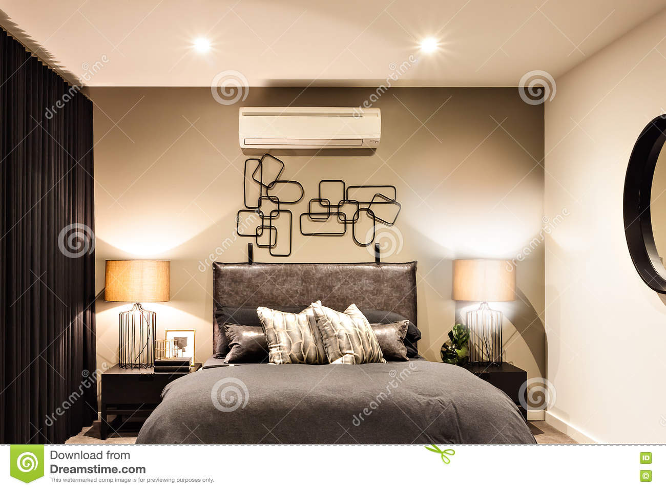 Modern Bedroom With Air Conditioner In A Luxury House Stock Image ...