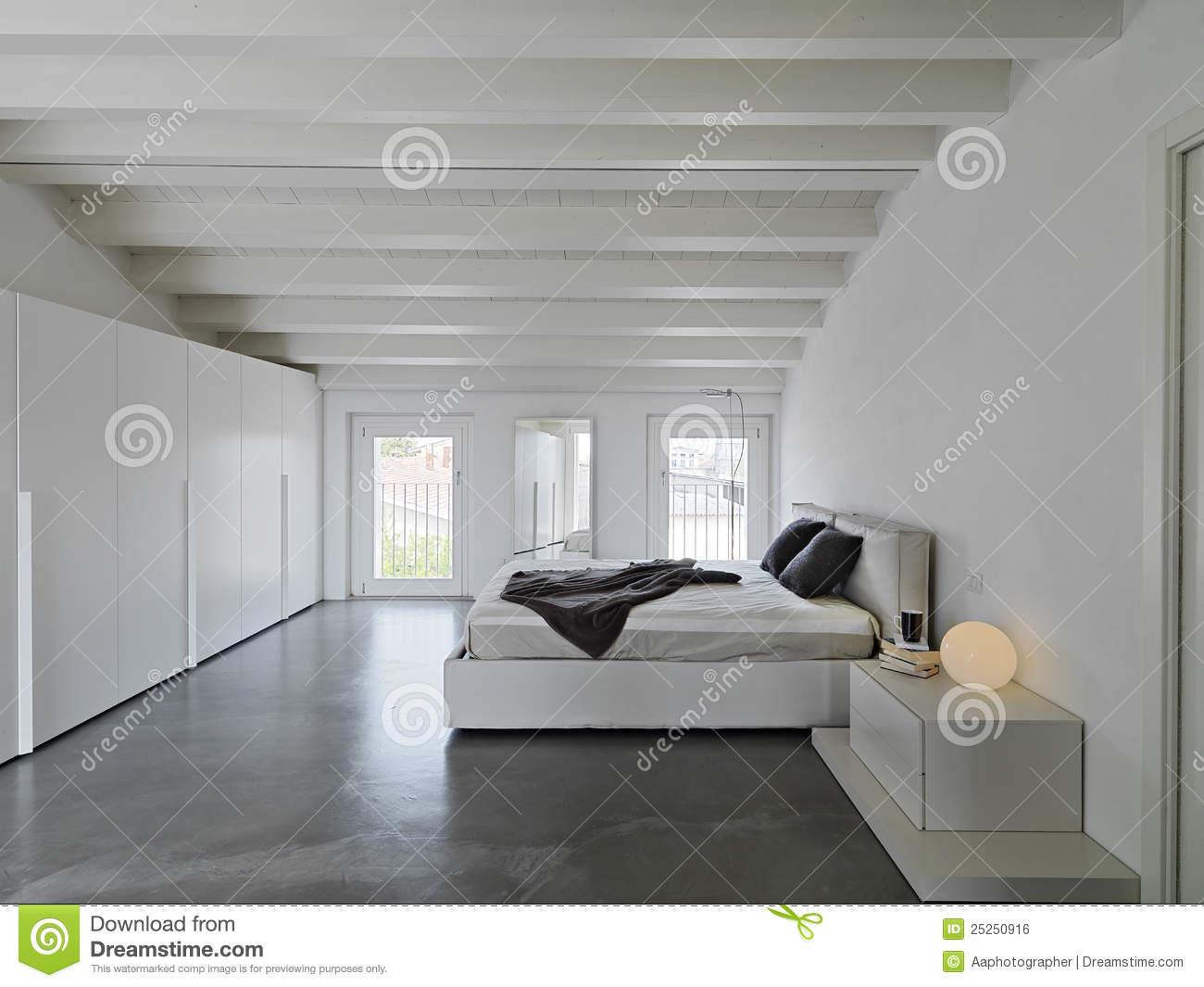 Modern bedroom in the attic rooms royalty free stock image - Maison peinte en gris ...