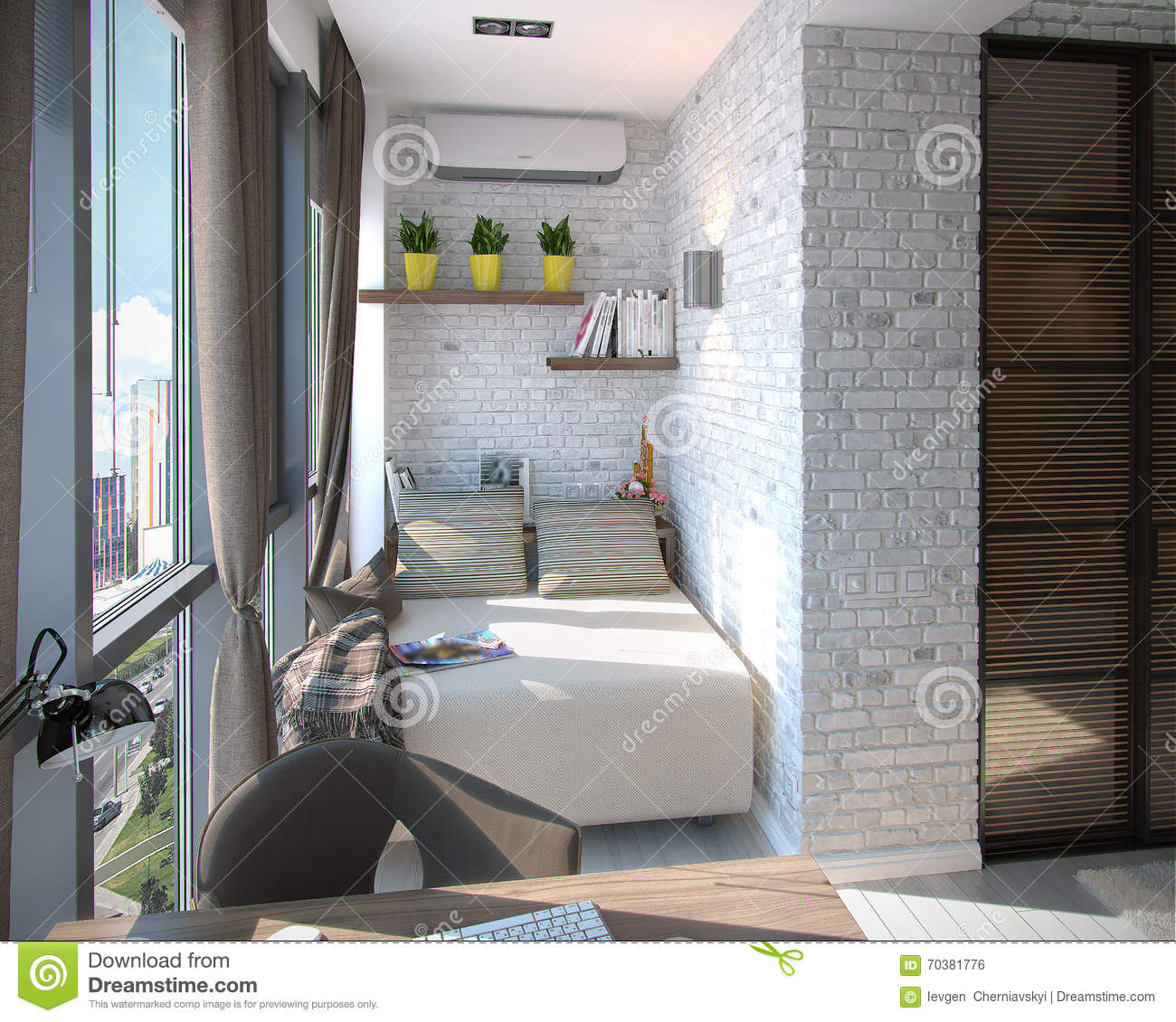 Modern bedroom balcony 3d rendering stock illustration image.