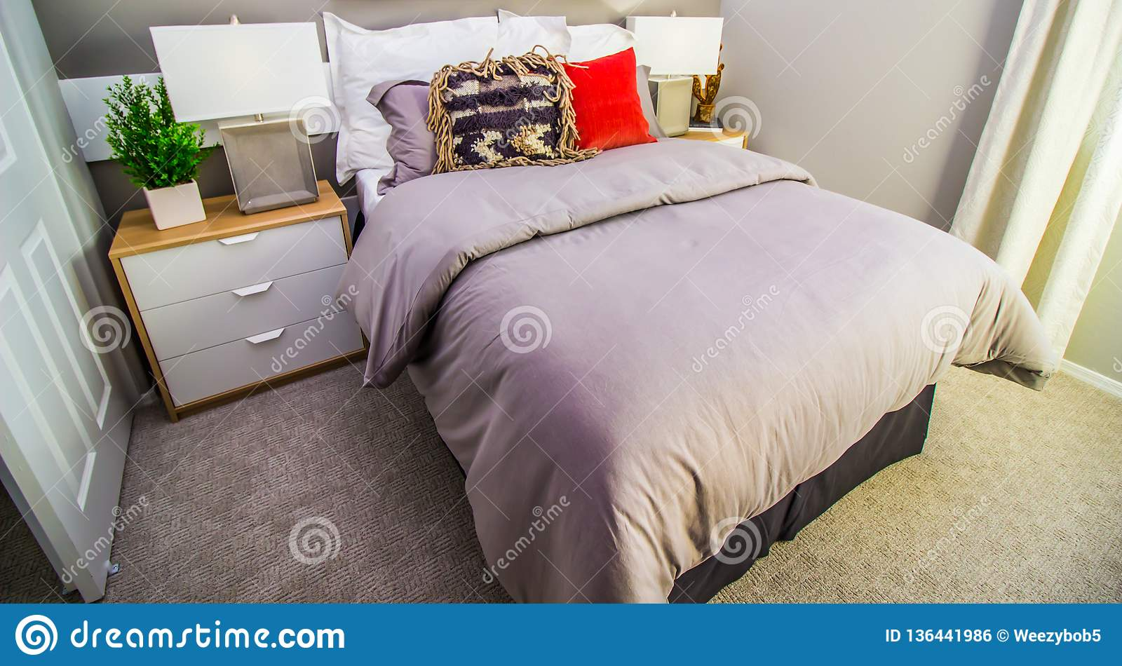 Modern Bedroom With Bed Night Stands And Lamps Stock Photo Image Of Vase Floor 136441986