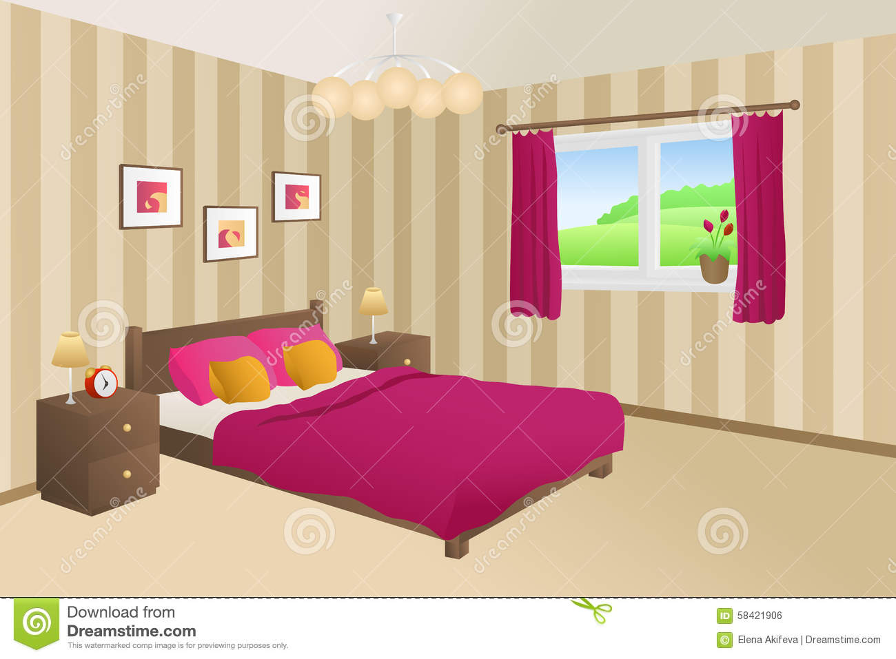 . Modern Bedroom Beige Pink Bed Yellow Pillows Lamps Window
