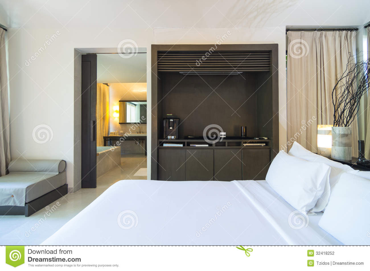 Modern Bedroom Connect With Bathroom Interior Design Stock Photo Image 32418252