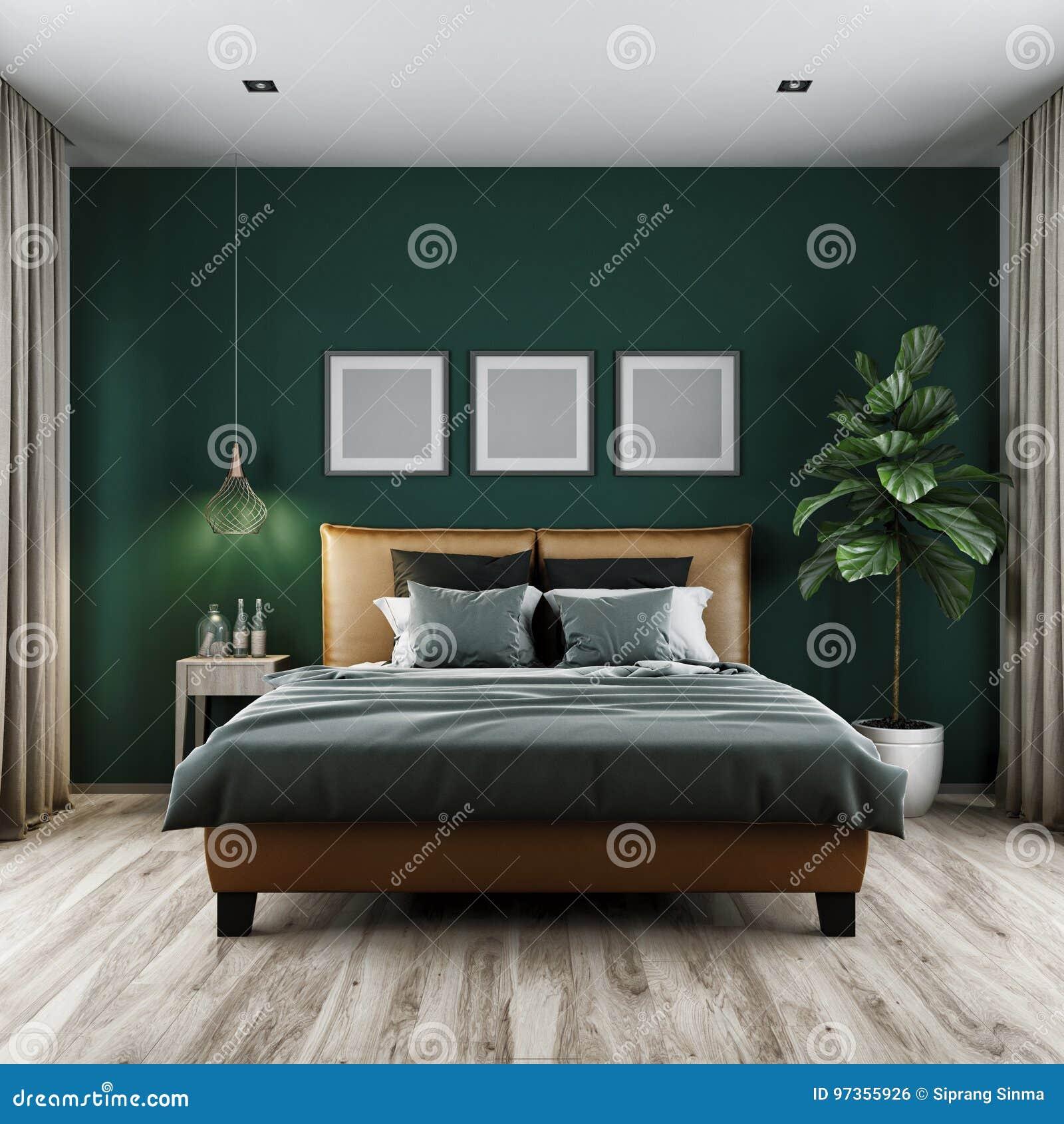 Modern Bedroom Dark Tone,3d Rendering Stock Illustration