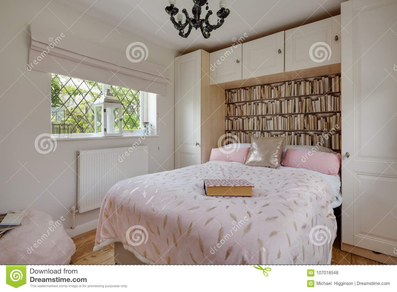 Modern Bedroom Decor With Traditional Home Stock Photo ...