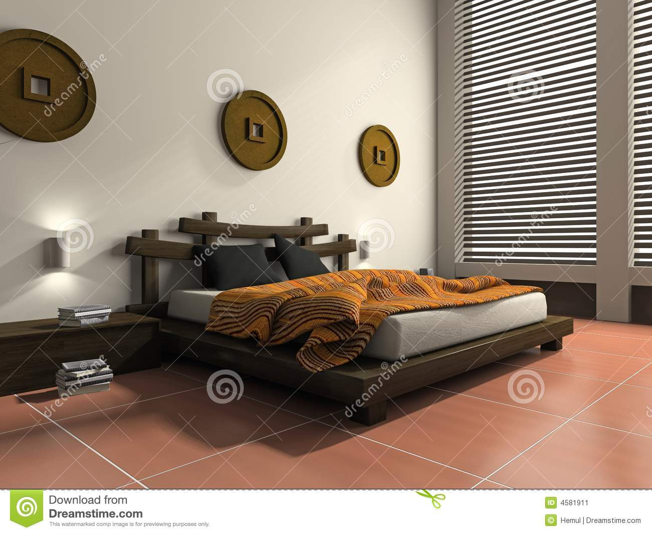 Modern Bedroom In Ethnic Style Stock Image - Image: 4581911