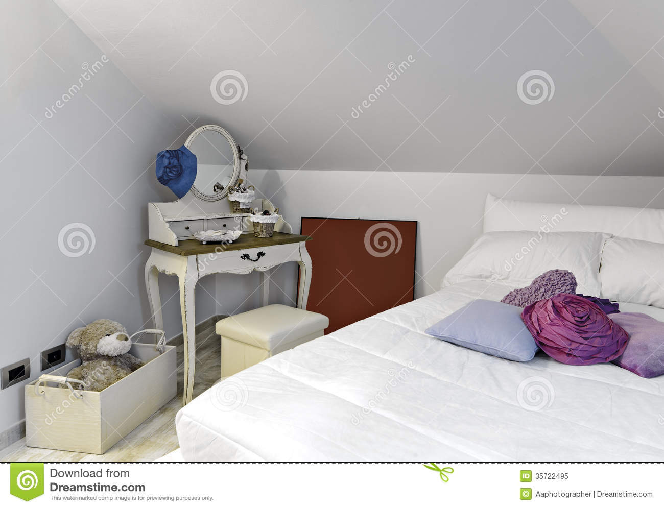 Modern bedroom for girl stock image image of toys pouf - Decorazioni camera ragazza ...