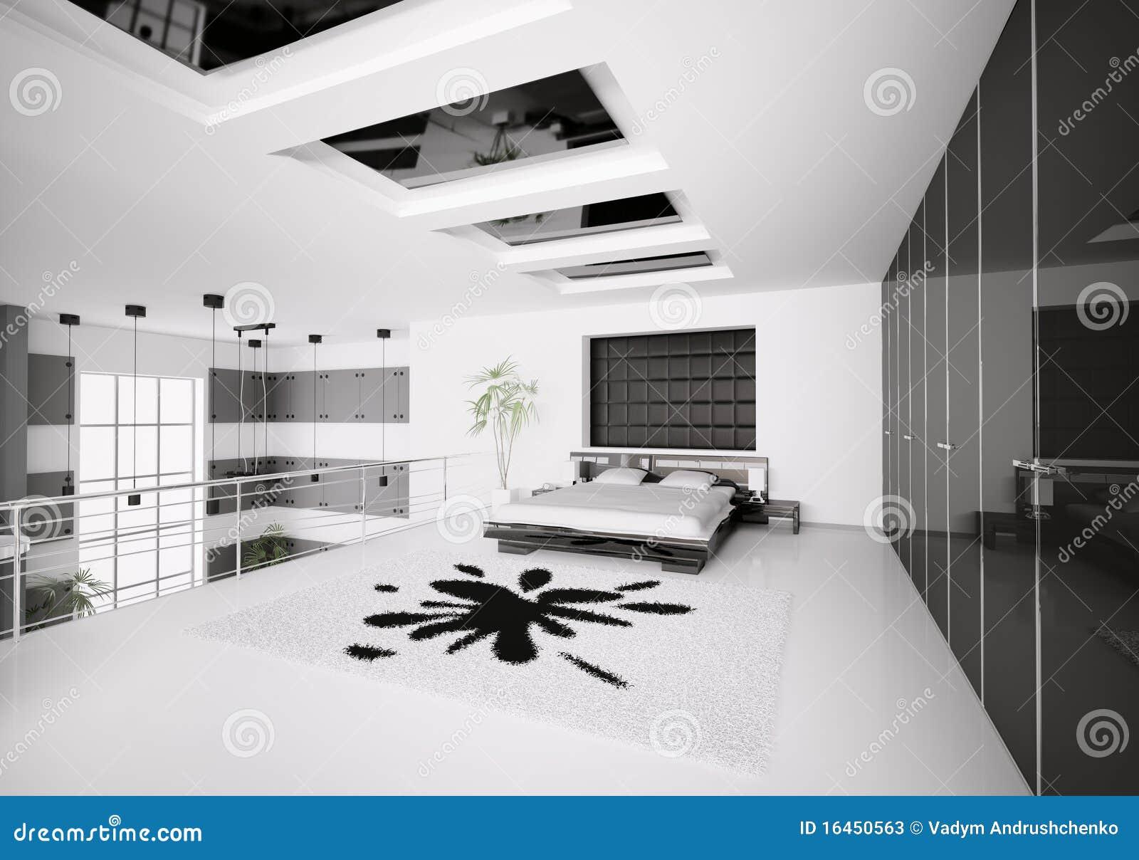Modern bedroom interior 3d stock illustration Illustration of