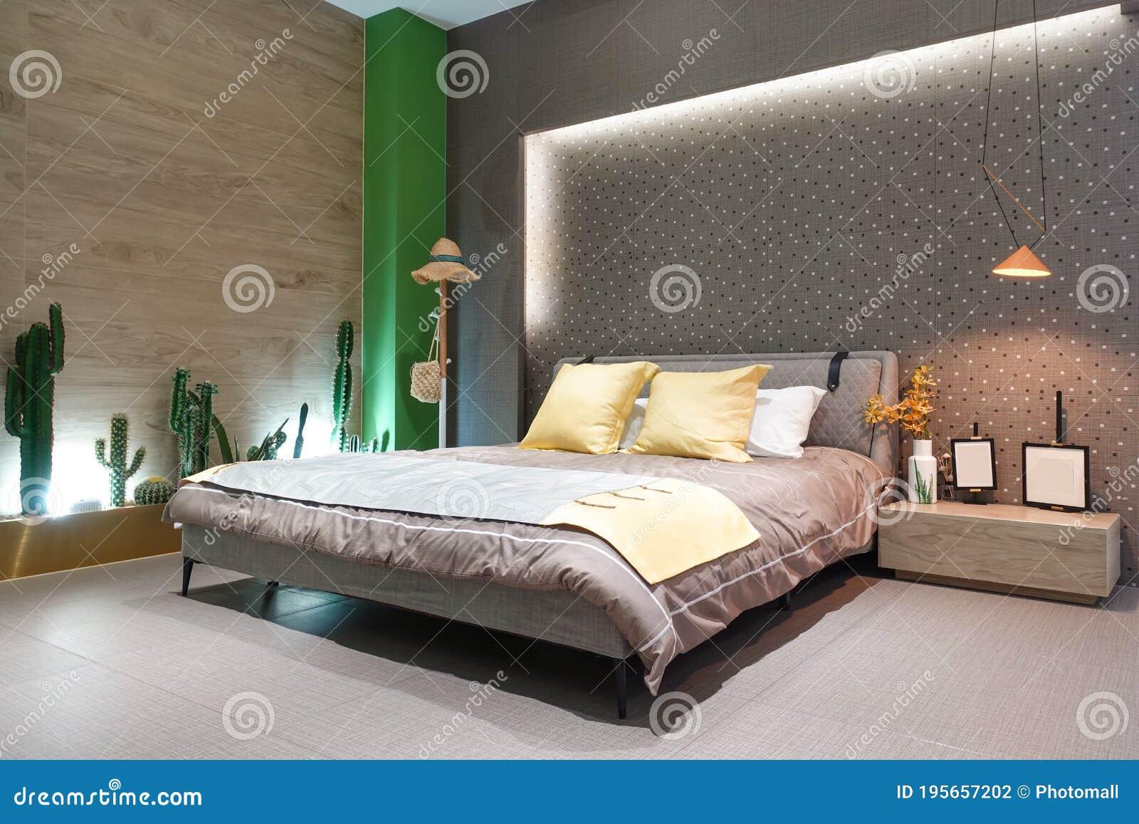 Modern Bedroom Interior Bed Bedside Table Led Light Stock Photo Image Of Bedhead Decoration 195657202