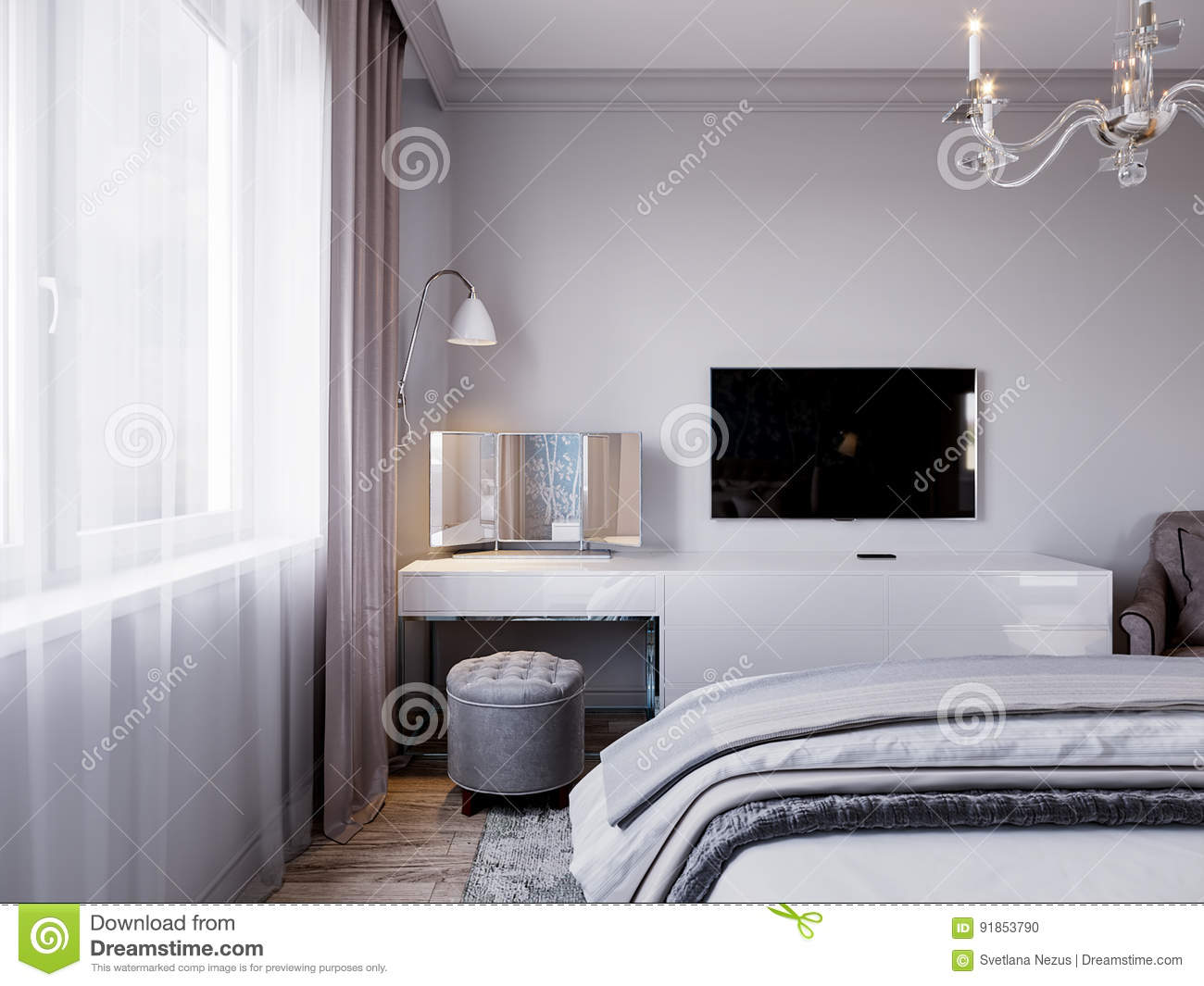 Modern Bedroom Interior Design With Classic Elements Stock