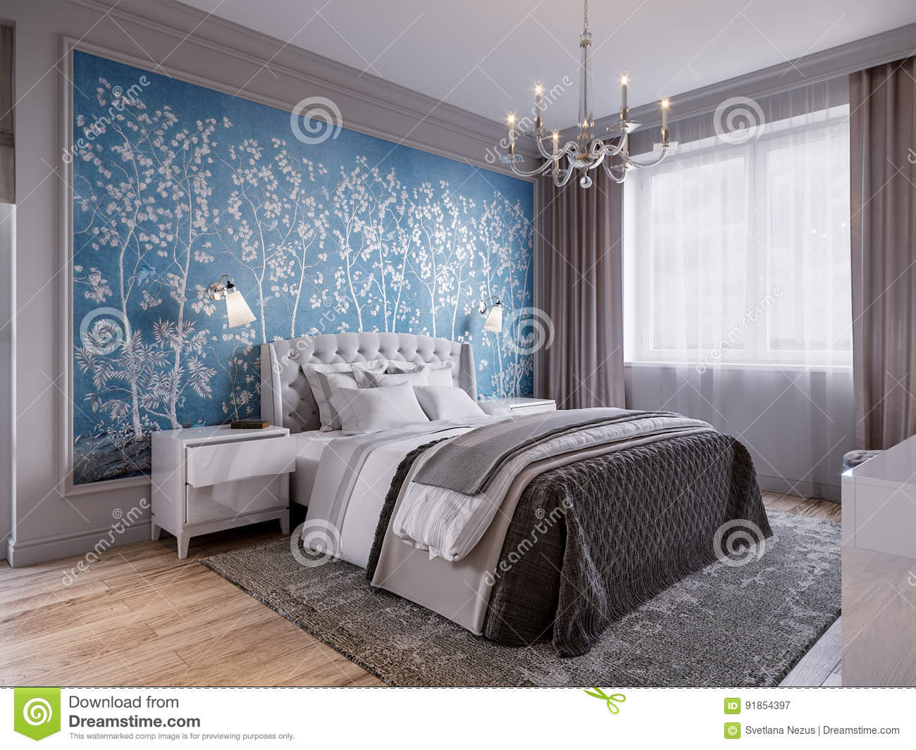 Modern Bedroom Interior Design With Classic Elements Stock ...