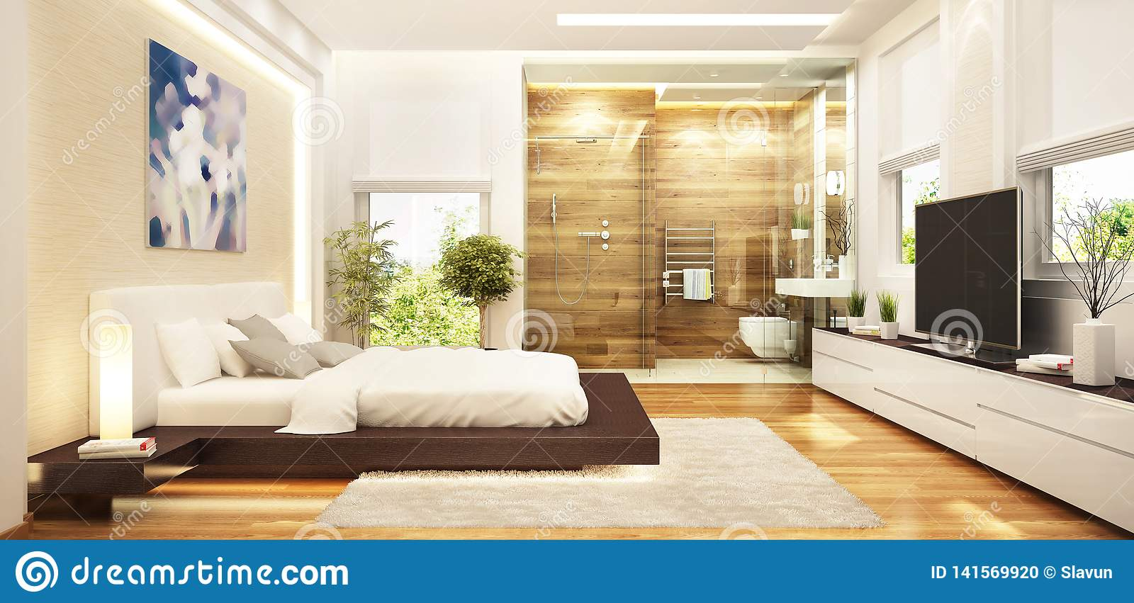 Modern Bedroom Interior Design Combined With A Modern Bathroom