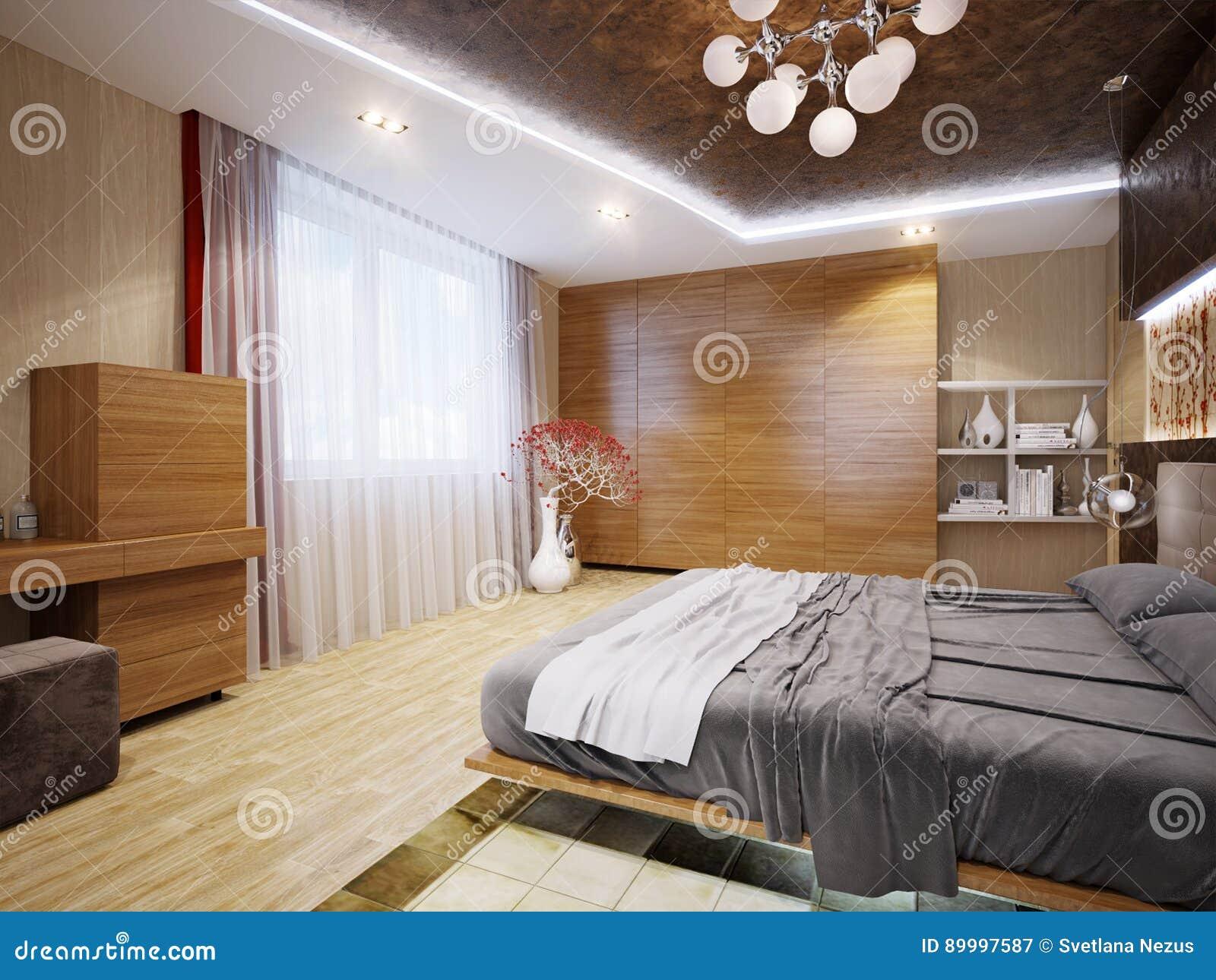 . Modern Bedroom Interior Design With Japanese Motifs Stock