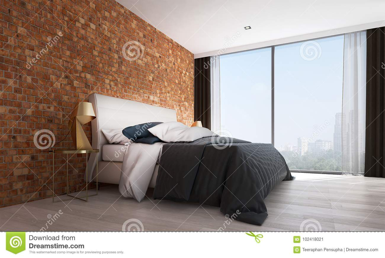 The Modern Bedroom Interior Design And Red Brick Wall Pattern