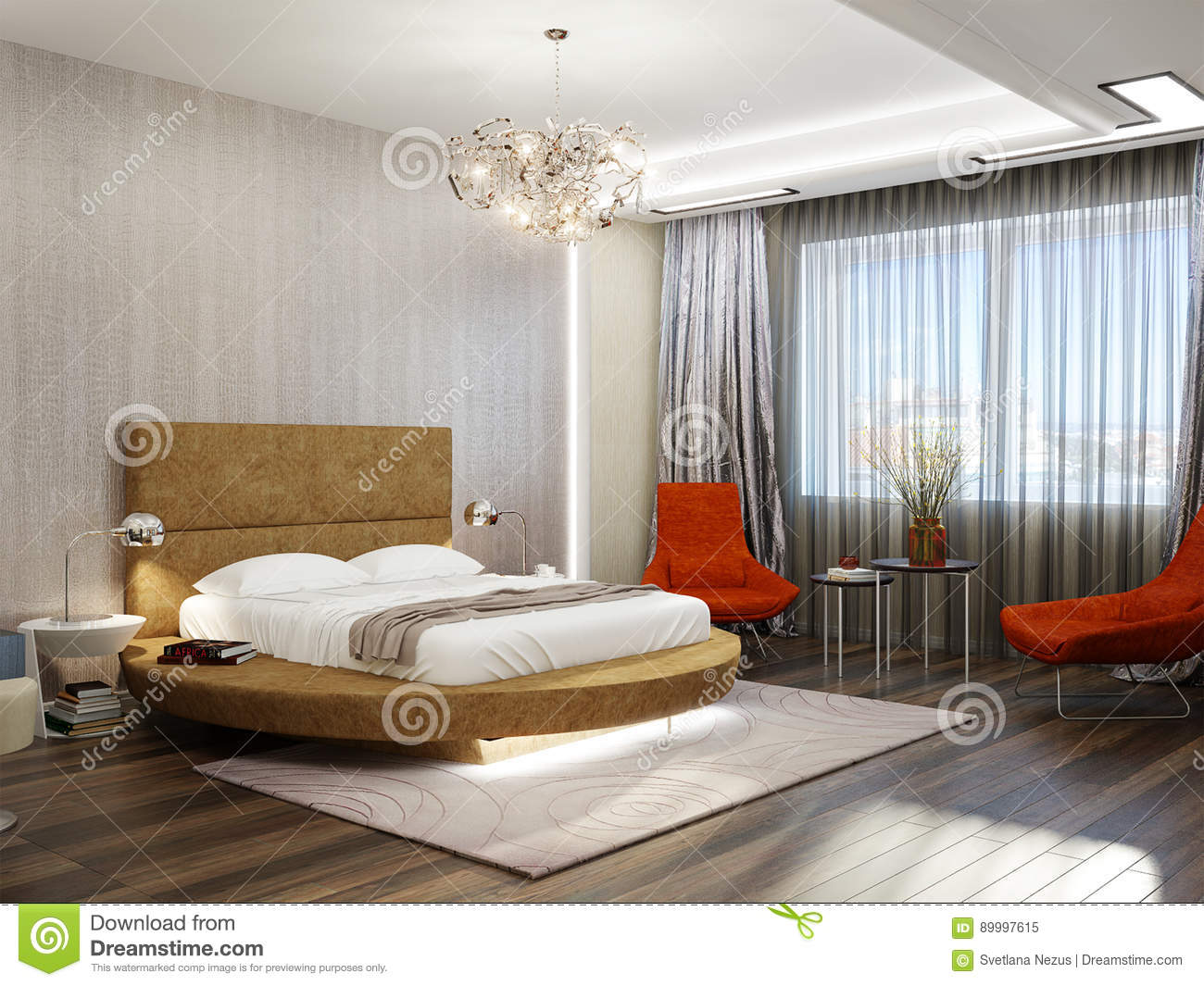 modern bedroom interior design with round bed stock illustration rh dreamstime com