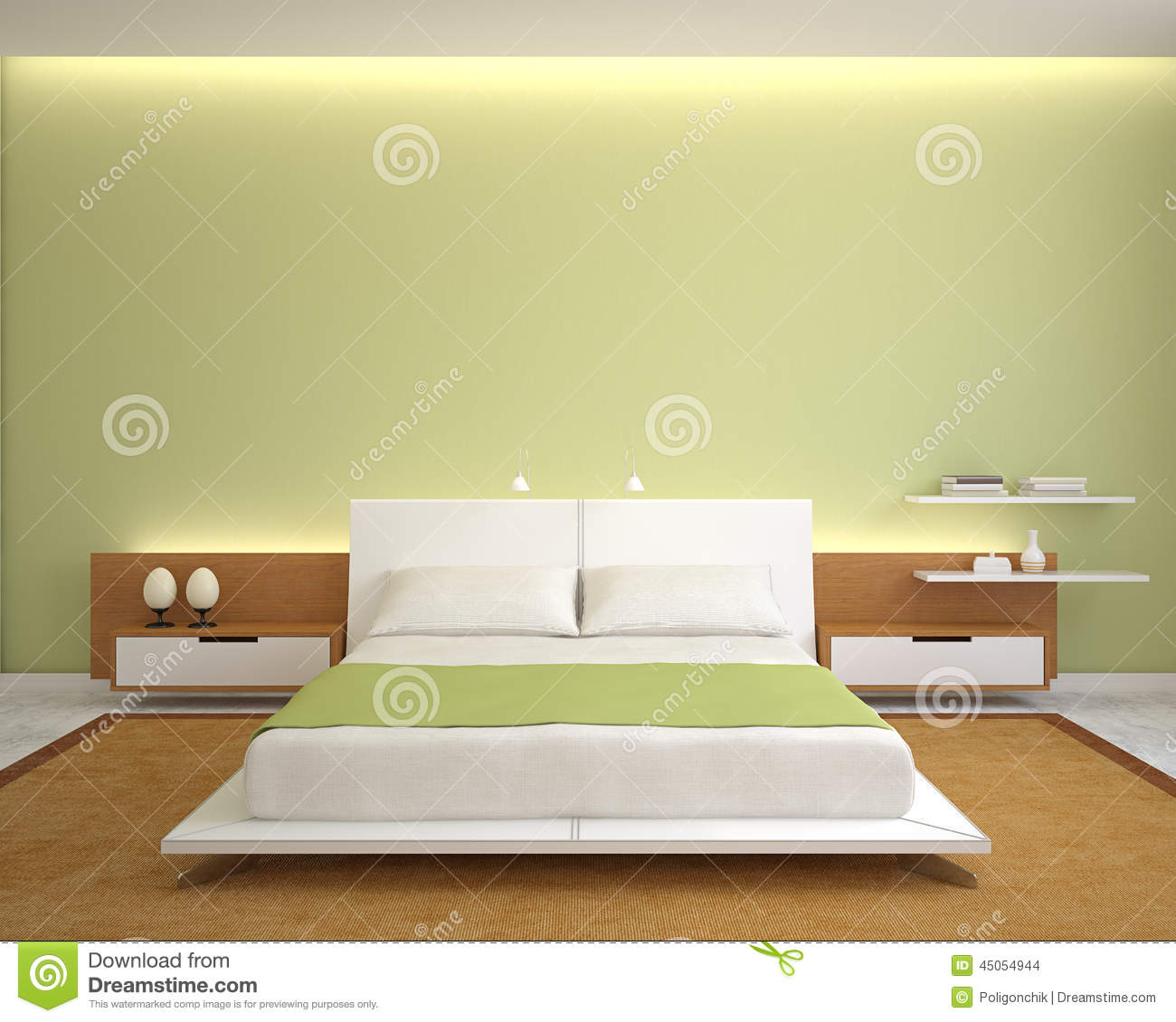 Modern Bedroom Interior Stock Illustration Image 45054944