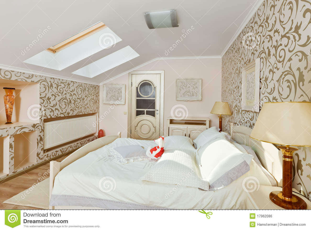 Modern Bedroom Interior In Light Beige Colors Royalty Free Stock Image ...