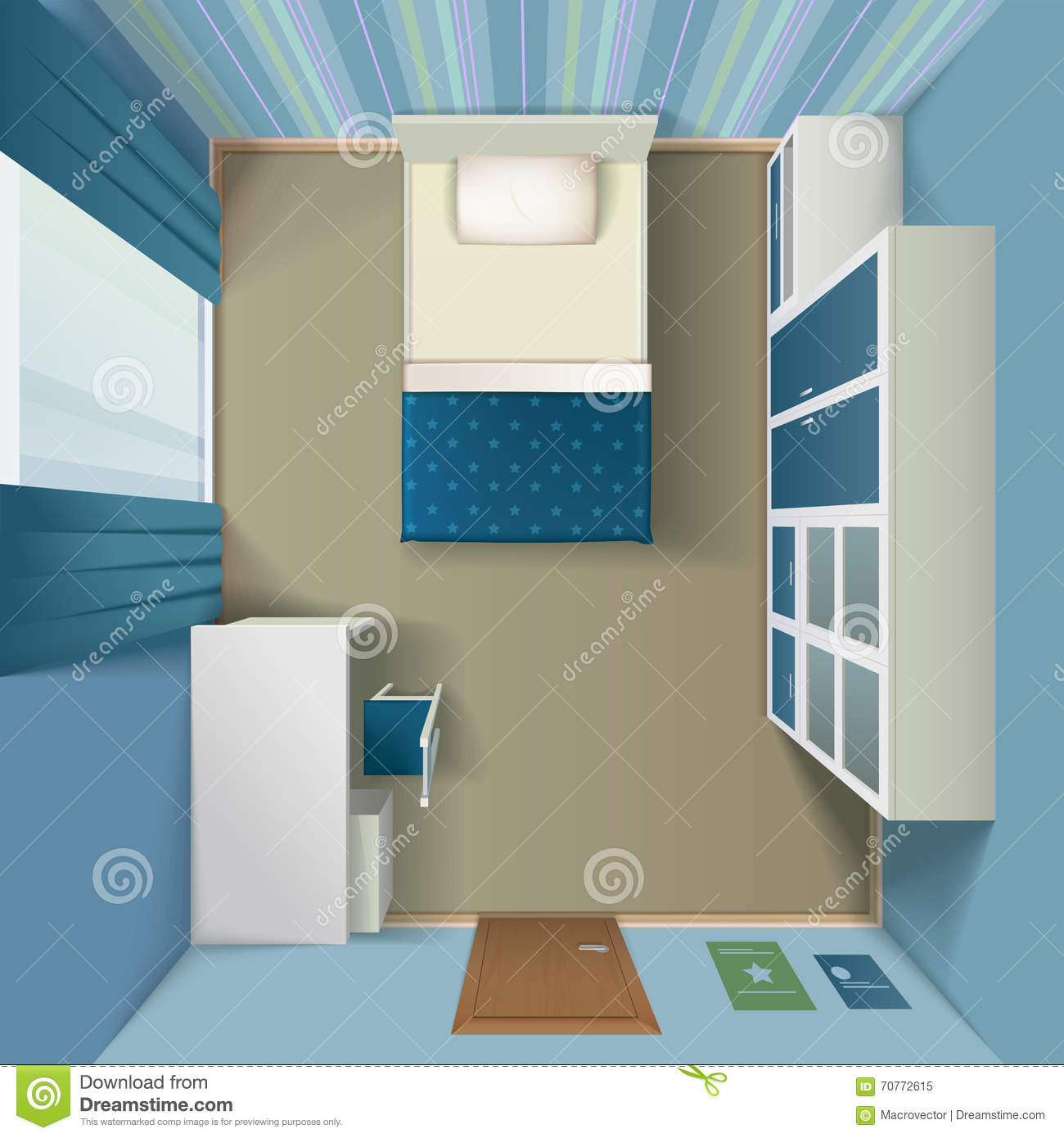 modern bedroom interior realistic top view stock vector