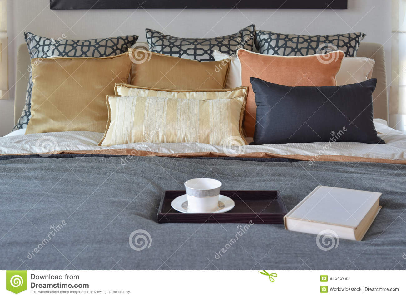 Modern Bedroom Interior With Teacup On Decorative Wooden