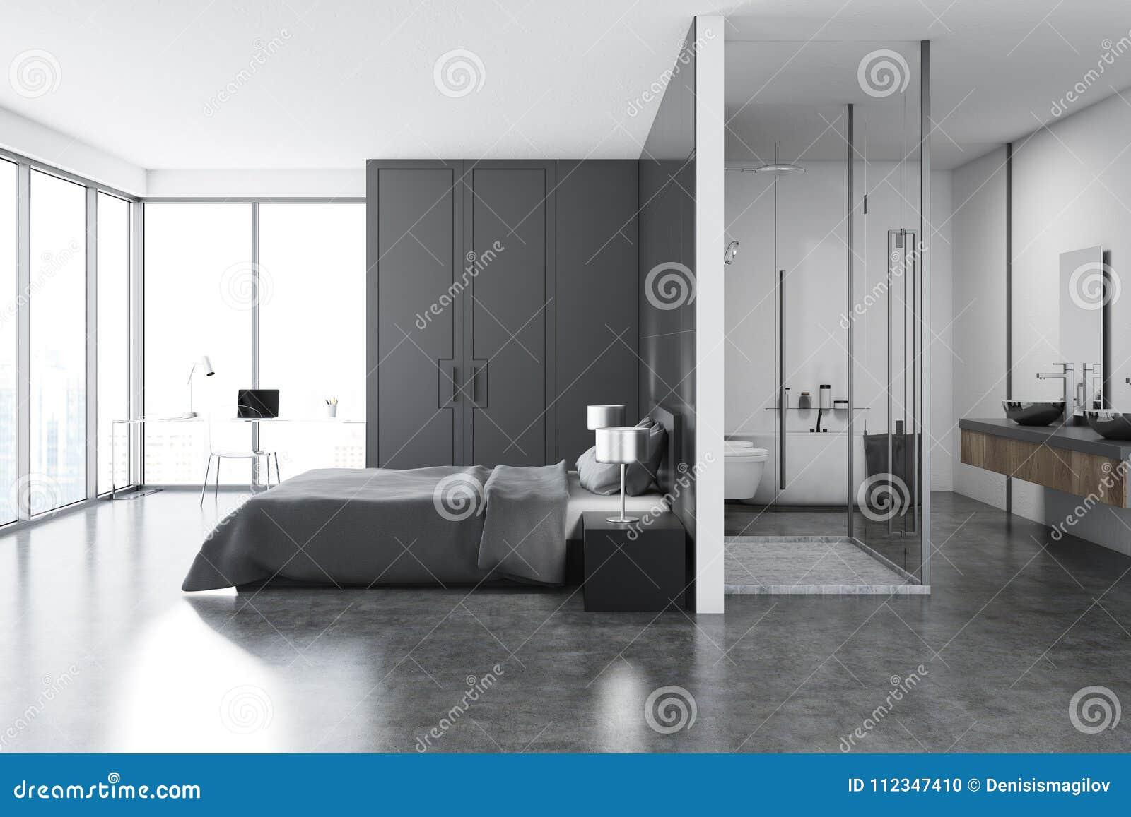 Luxury Bedroom And Bathroom Interior Stock Illustration