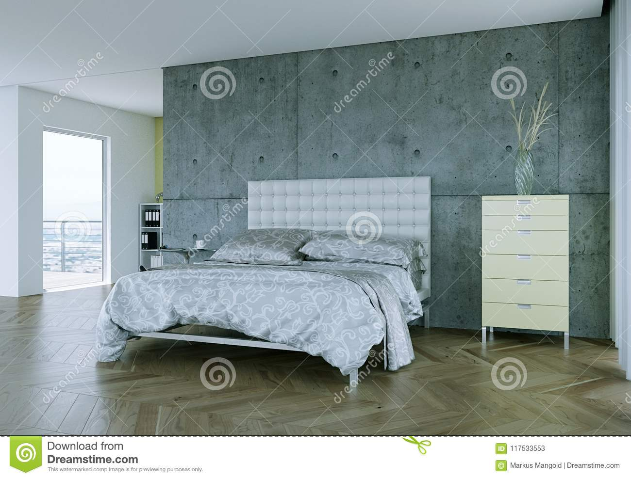 Modern bedroom with king size bed and modern decor stock