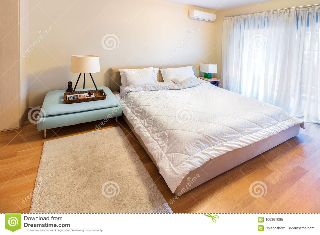 A Modern Bedroom With King Size Bed On Oak Floor Stock Image Image Of Decor Lamp 106361085