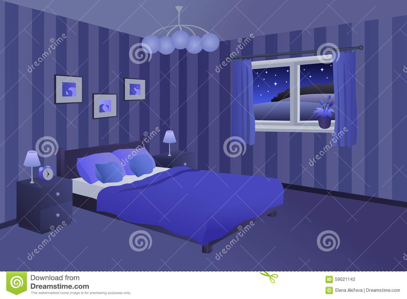 Modern blue and black bedroom - Modern Bedroom Night Blue Black Bed Pillows Lamps Window Illustration