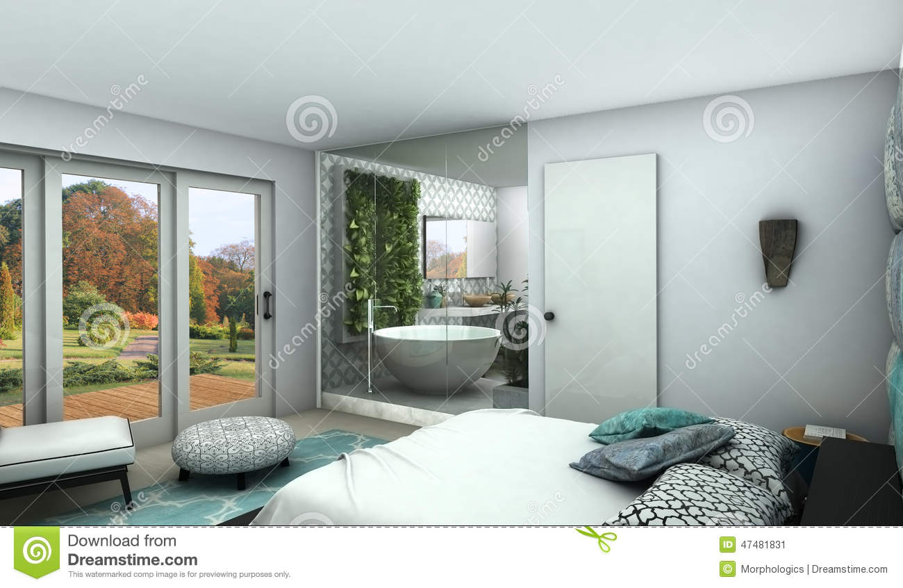 Modern bedroom with see trough glass wall to a bathroom for Modele de chambre a coucher avec salle de bain