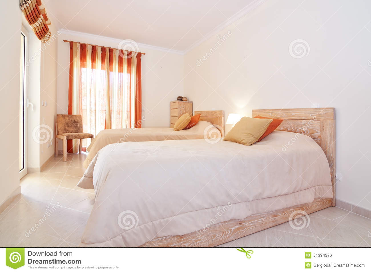 modern bedroom suite in the warm colors royalty free stock image