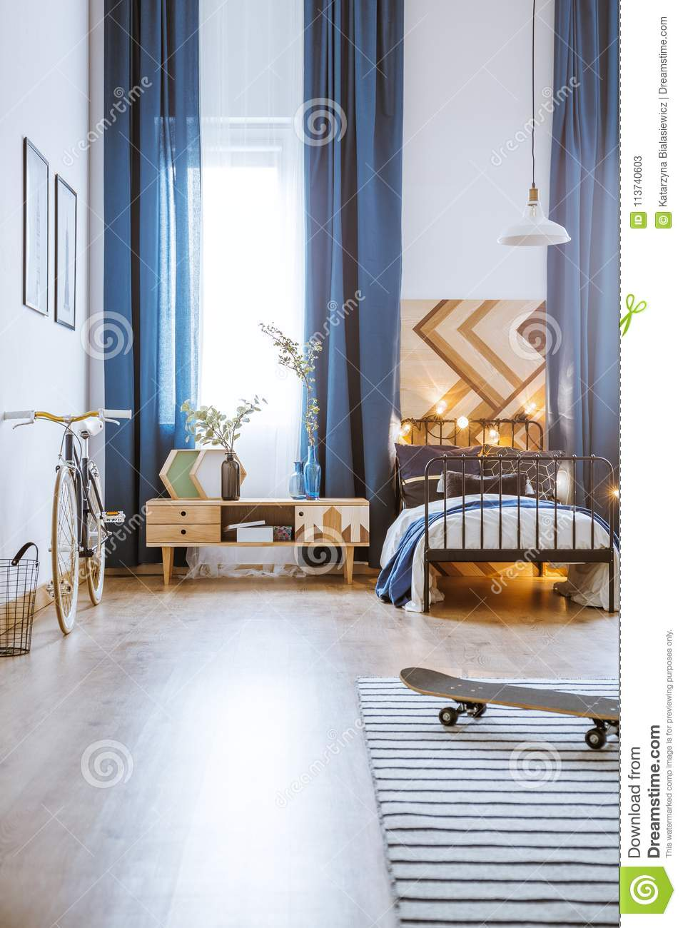 Modern Bedroom For Teenager Stock Image - Image of plants ...